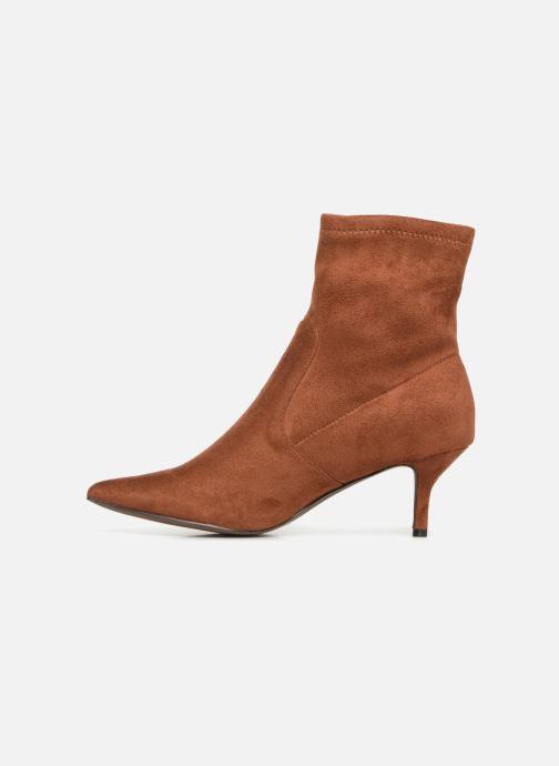Ankle boots Monoprix Femme BOOTS CHAUSSETTE TALON Brown front view