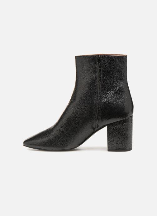 Bottines et boots Monoprix Femme BOTTINE TALON CUIR CRAQUELE Noir vue face