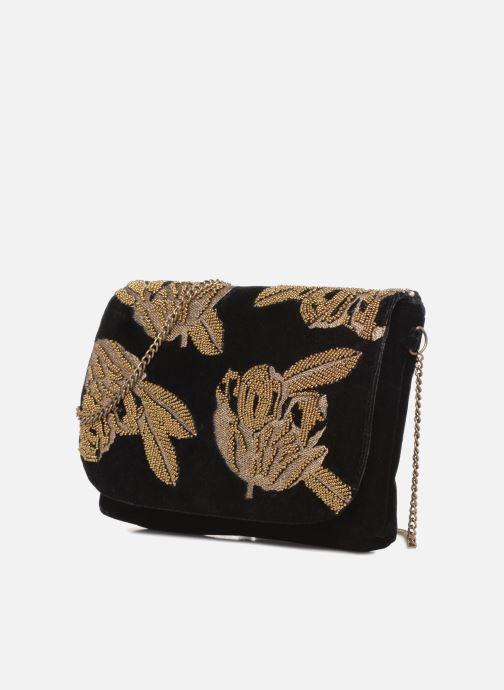 Handbags Monoprix Femme POCHETTE VELOURS BRODE Black model view