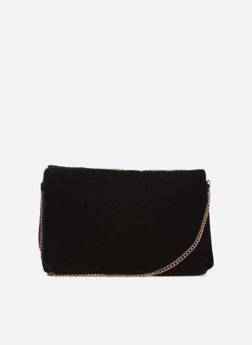 Bolsos de mano Monoprix Femme POCHETTE VELOURS BRODE Negro vista de frente
