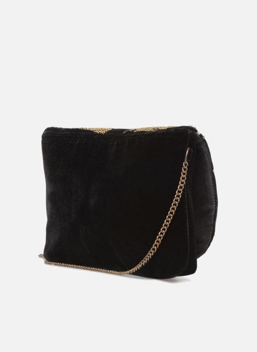 Handtaschen Monoprix Femme POCHETTE VELOURS BRODE schwarz ansicht von rechts