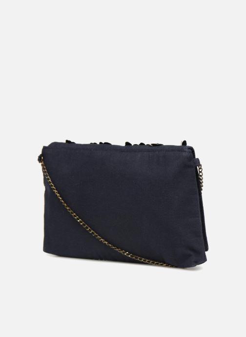 Bolsos de mano Monoprix Femme POCHETTE VELOURS PERLES Azul vista lateral derecha