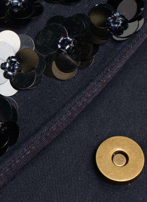 Bolsos de mano Monoprix Femme POCHETTE VELOURS PERLES Azul vista lateral izquierda