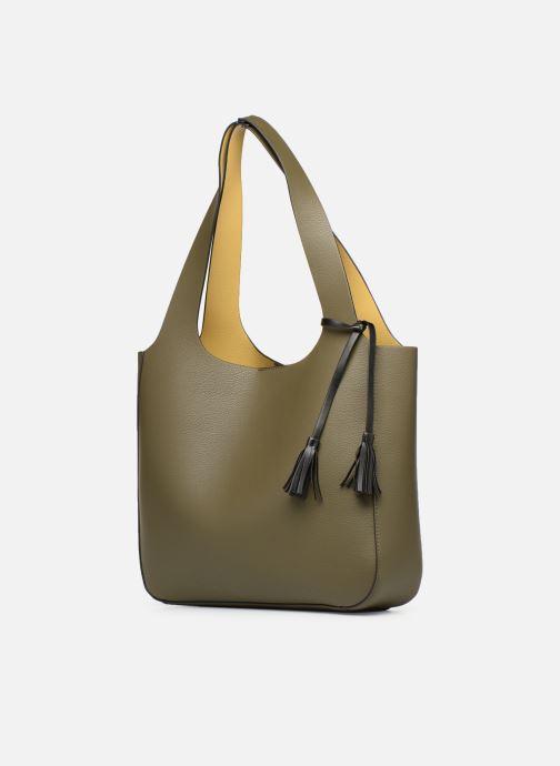 Handtaschen Monoprix Femme CABAS POMPON PU grün schuhe getragen