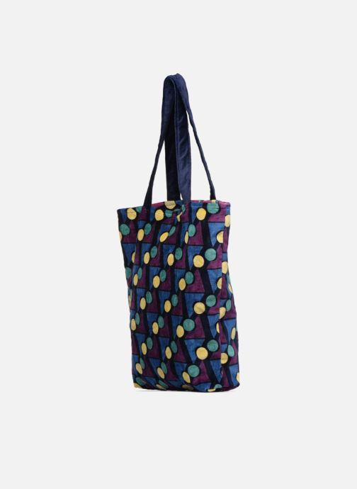 Håndtasker Monoprix Femme TOTE BAG VELOURS GEOMETRIQUE Lilla Se fra højre