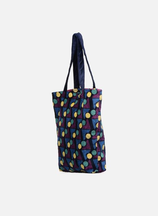 Handtaschen Monoprix Femme TOTE BAG VELOURS GEOMETRIQUE lila ansicht von rechts