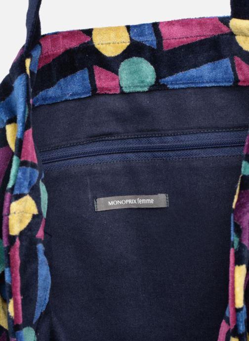 Handtassen Monoprix Femme TOTE BAG VELOURS GEOMETRIQUE Paars achterkant