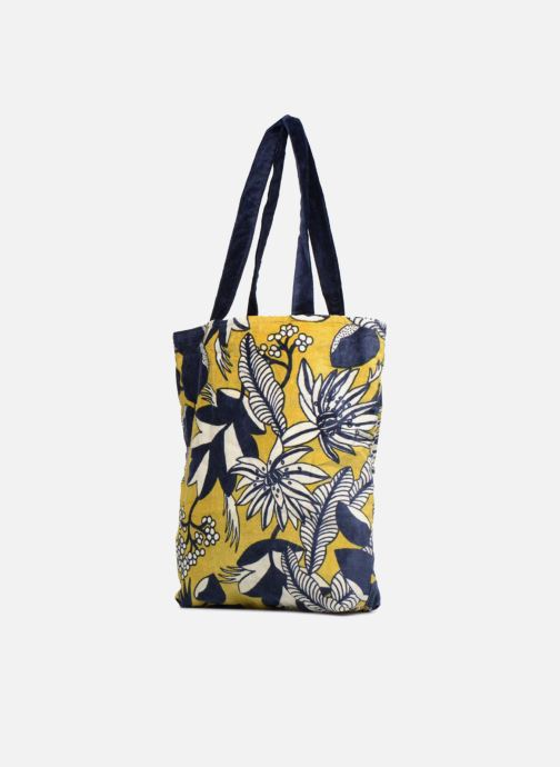 Handtaschen Monoprix Femme TOTE BAG VELOURS FLEURS gelb schuhe getragen