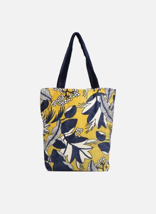 Handtaschen Monoprix Femme TOTE BAG VELOURS FLEURS gelb ansicht von vorne