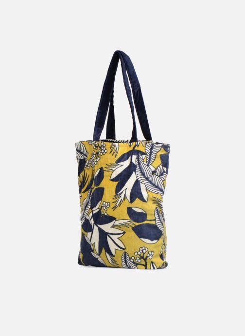 Handtaschen Monoprix Femme TOTE BAG VELOURS FLEURS gelb ansicht von rechts