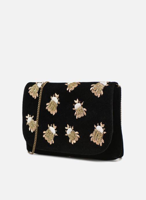 Bolsos de mano Monoprix Femme POCHETTE VELOURS SCARAB Negro vista del modelo