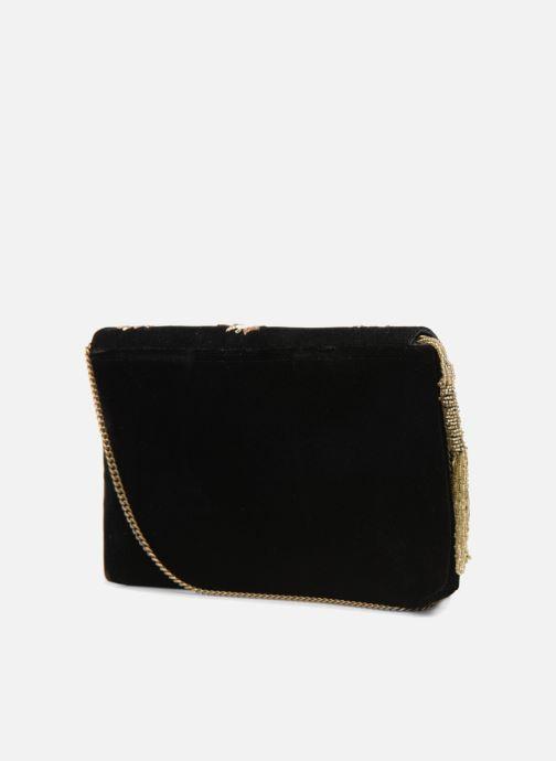 Bolsos de mano Monoprix Femme POCHETTE VELOURS SCARAB Negro vista lateral derecha