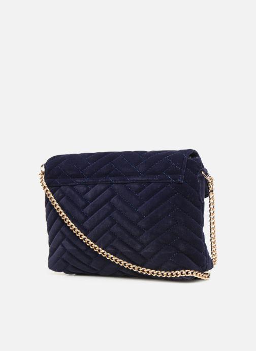 Bolsos de mano Monoprix Femme POCHETTE VELOURS MATELASSEE ZIGZAG Azul vista lateral derecha