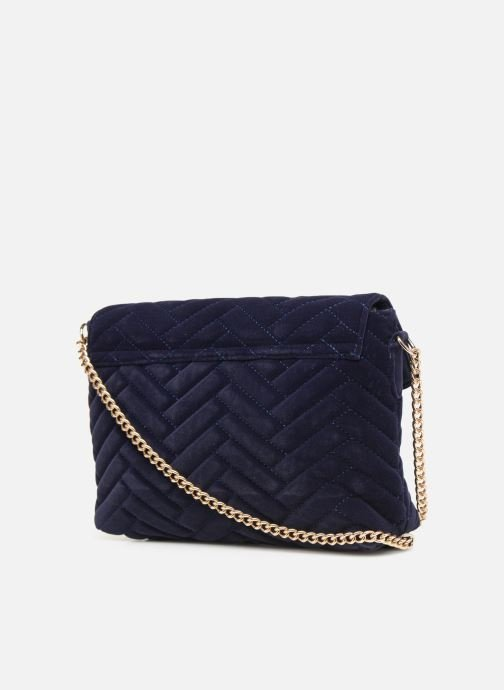 Handbags Monoprix Femme POCHETTE VELOURS MATELASSEE ZIGZAG Blue view from the right