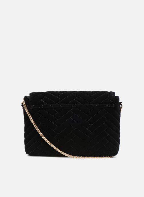 Handtaschen Monoprix Femme POCHETTE VELOURS MATELASSEE ZIGZAG schwarz ansicht von vorne