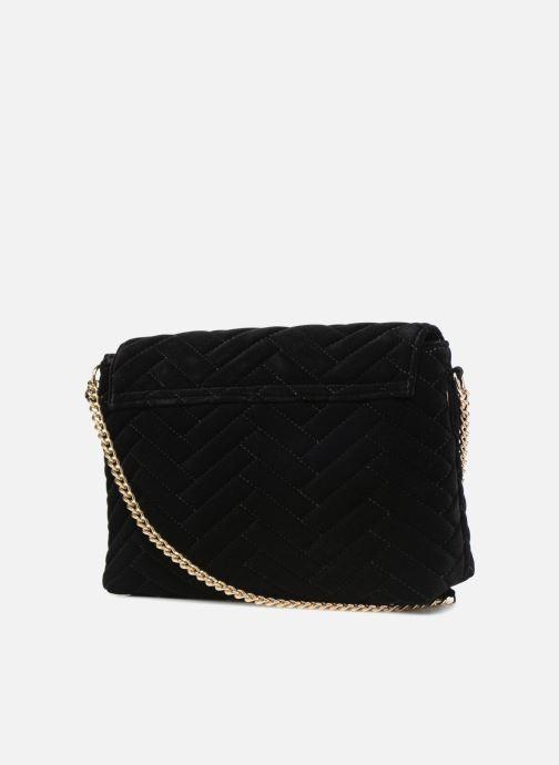 Handtaschen Monoprix Femme POCHETTE VELOURS MATELASSEE ZIGZAG schwarz ansicht von rechts