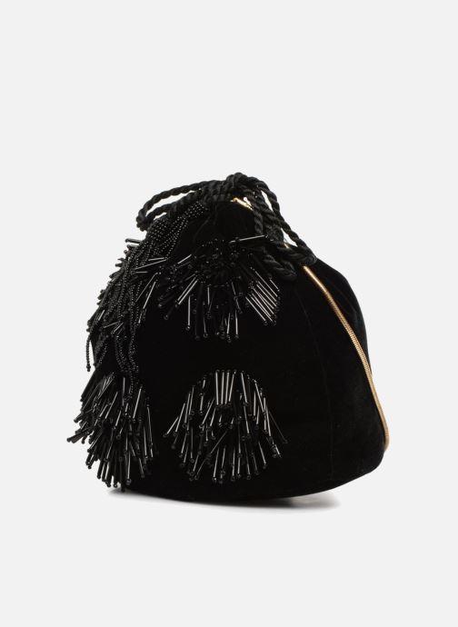 Sacs à main Monoprix Femme POCHETTE SEAU FRANGE PERLE Noir vue portées chaussures