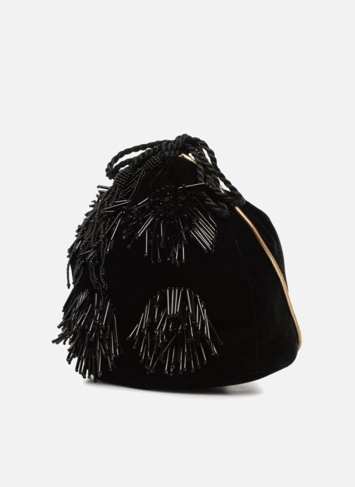Bolsos de mano Monoprix Femme POCHETTE SEAU FRANGE PERLE Negro vista del modelo