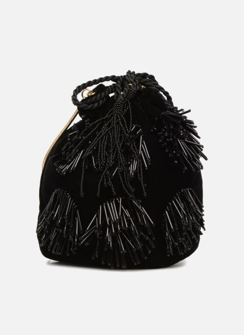 Bolsos de mano Monoprix Femme POCHETTE SEAU FRANGE PERLE Negro vista de detalle / par