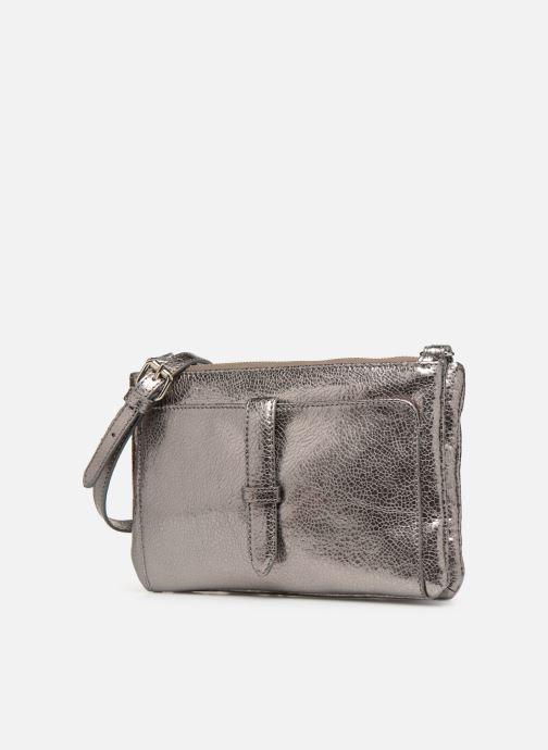 Bolsos de mano Monoprix Femme POCHETTE 2 ZIPS CUIR Plateado vista del modelo