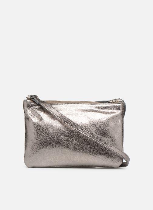 Handtassen Monoprix Femme POCHETTE 2 ZIPS CUIR Zilver voorkant
