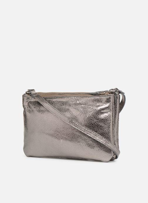Bolsos de mano Monoprix Femme POCHETTE 2 ZIPS CUIR Plateado vista lateral derecha