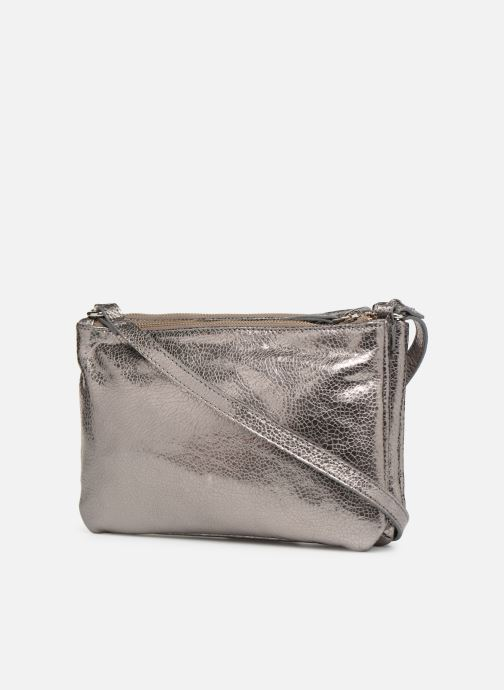 Handbags Monoprix Femme POCHETTE 2 ZIPS CUIR Silver view from the right