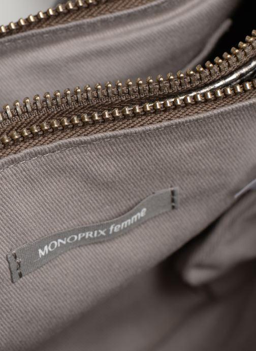 Bolsos de mano Monoprix Femme POCHETTE 2 ZIPS CUIR Plateado vista lateral izquierda