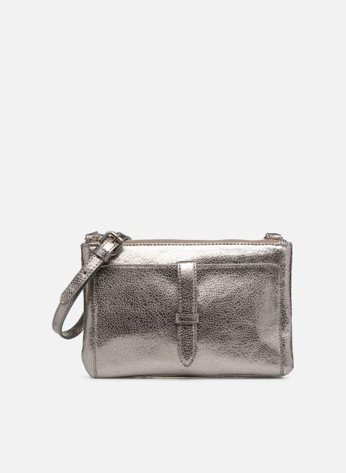 Handtassen Monoprix Femme POCHETTE 2 ZIPS CUIR Zilver detail