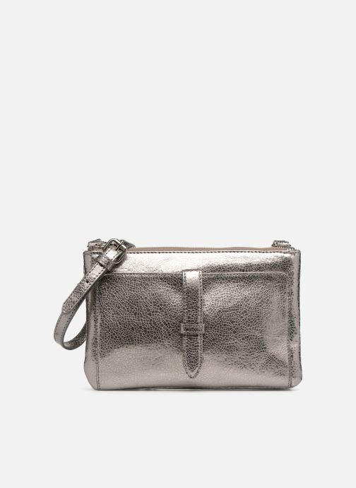 Handbags Monoprix Femme POCHETTE 2 ZIPS CUIR Silver detailed view/ Pair view