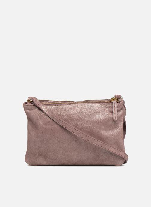 Handtaschen Monoprix Femme POCHETTE 2 ZIPS CUIR IRISE lila ansicht von vorne