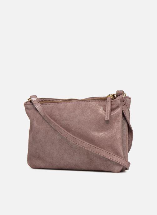 Handtaschen Monoprix Femme POCHETTE 2 ZIPS CUIR IRISE lila ansicht von rechts