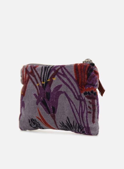 Portemonnaies & Clutches Monoprix Femme POCHETTE MOYENNE VELOURS AOP lila ansicht von rechts