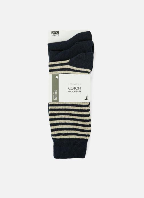 Socks & tights Monoprix Homme CHAUSSETTE LOT 3 RAYURES ET UNIE Blue detailed view/ Pair view