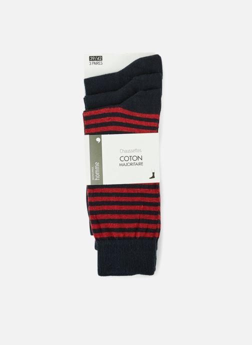 Socken & Strumpfhosen Monoprix Homme CHAUSSETTE LOT 3 RAYURES ET UNIE blau detaillierte ansicht/modell