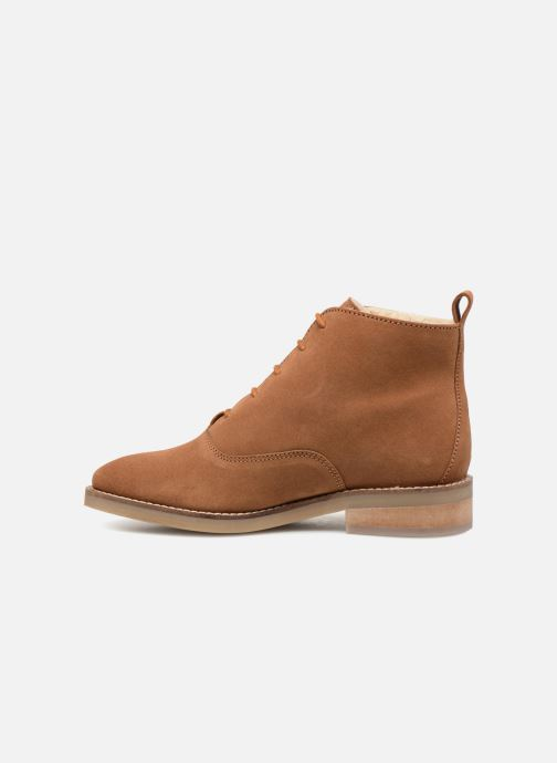 Lace-up shoes Monoprix Premium BOOTS LACETS FOUREE Brown front view