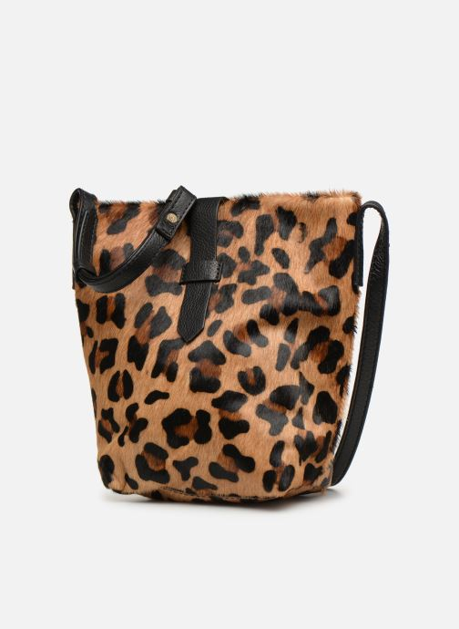 Handbags Monoprix Premium SAC SEAU CUIR LEOPARD Black model view