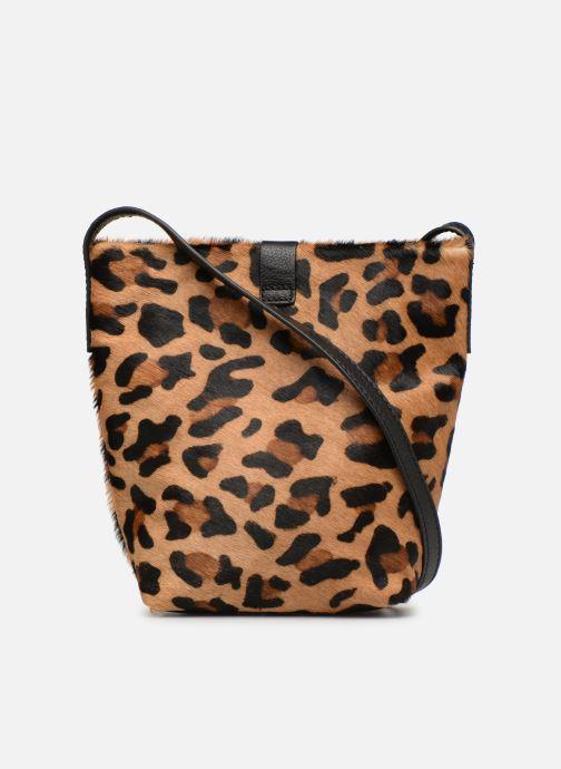 Handbags Monoprix Premium SAC SEAU CUIR LEOPARD Black front view
