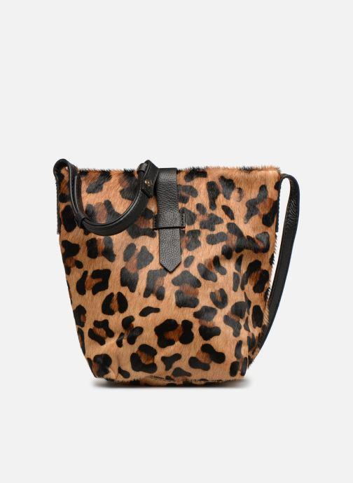 Handbags Monoprix Premium SAC SEAU CUIR LEOPARD Black detailed view/ Pair view