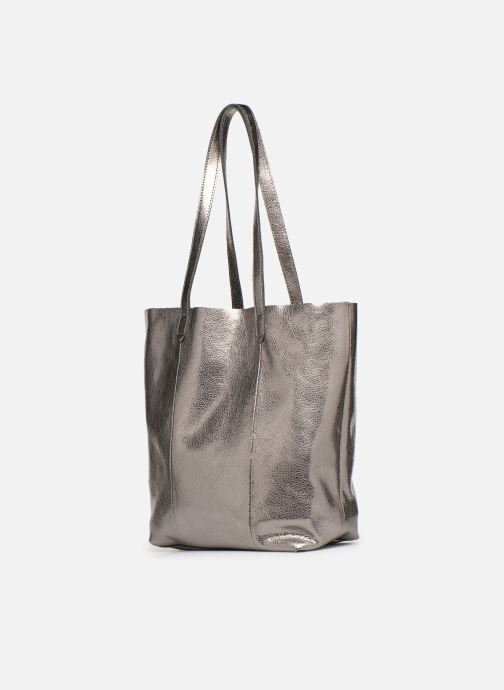 Handbags Monoprix Premium CABAS CUIR GRAINE Silver model view