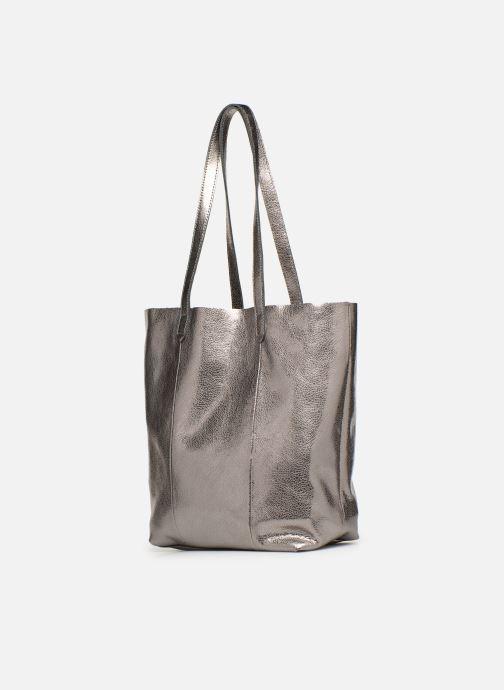 Handtaschen Monoprix Premium CABAS CUIR GRAINE silber schuhe getragen