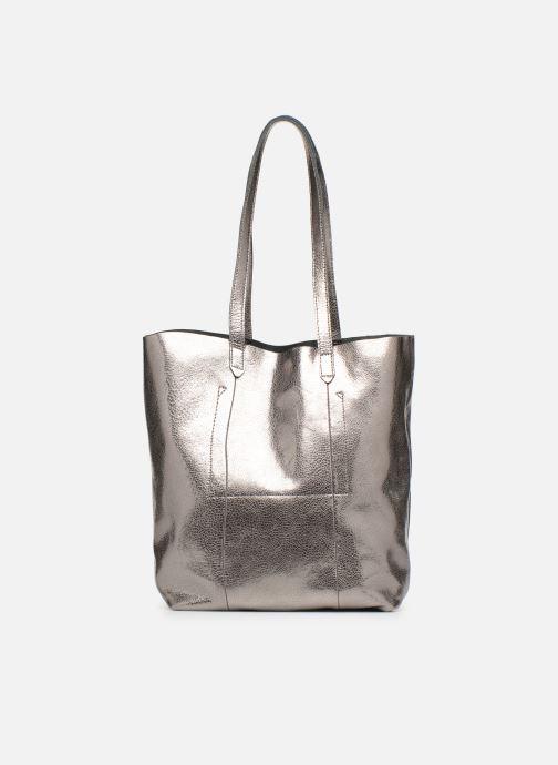 Handtaschen Monoprix Premium CABAS CUIR GRAINE silber ansicht von vorne