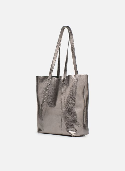 Handbags Monoprix Premium CABAS CUIR GRAINE Silver view from the right