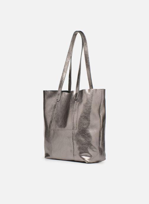 Handtaschen Monoprix Premium CABAS CUIR GRAINE silber ansicht von rechts