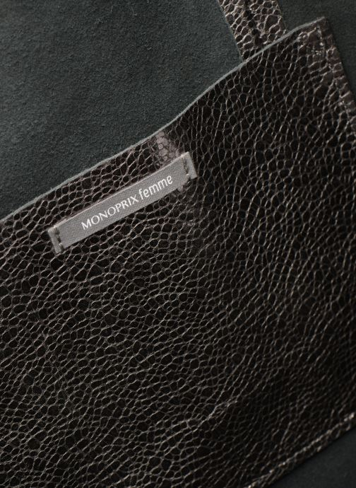 Bolsos de mano Monoprix Premium CABAS CUIR GRAINE Plateado vista lateral izquierda