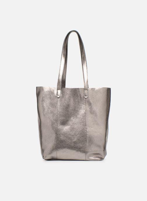 Handtaschen Monoprix Premium CABAS CUIR GRAINE silber detaillierte ansicht/modell