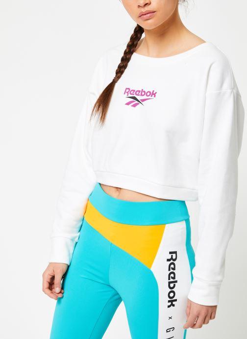 Vêtements Reebok CL V P Crew Blanc vue droite