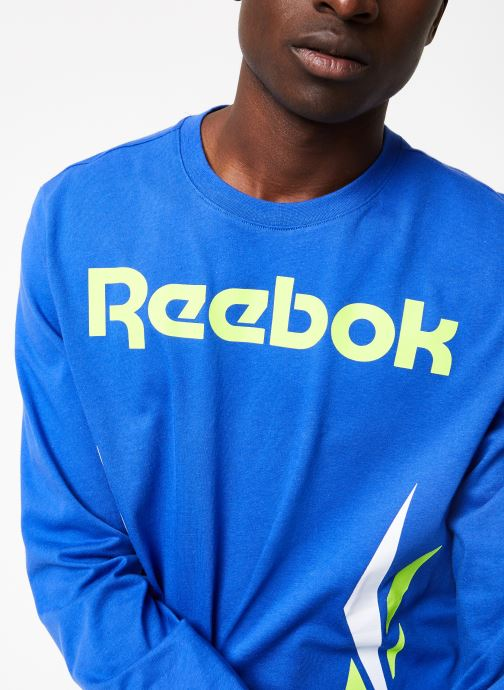 Vêtements Reebok CL V LS Tee Bleu vue face