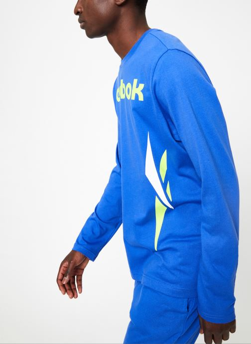 Vêtements Reebok CL V LS Tee Bleu vue droite