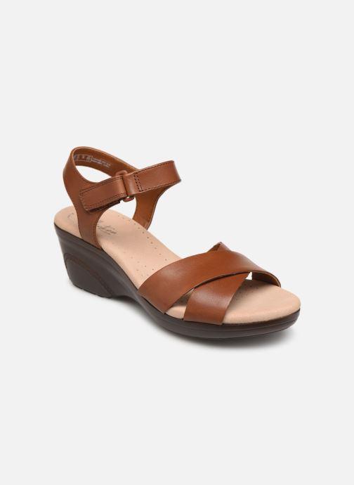 Sandaler Clarks Lynette Deb Brun detaljeret billede af skoene